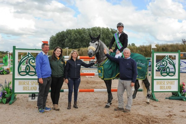 Ray Buchanan (Showjumping Ireland Chairman), Lynda Fraher (TRM) Lorraine MacGuinness (Horseware) Eamon Rice (Chairman of National Competitons Committee) pictured with Alexander Butler (National Champion 2015).