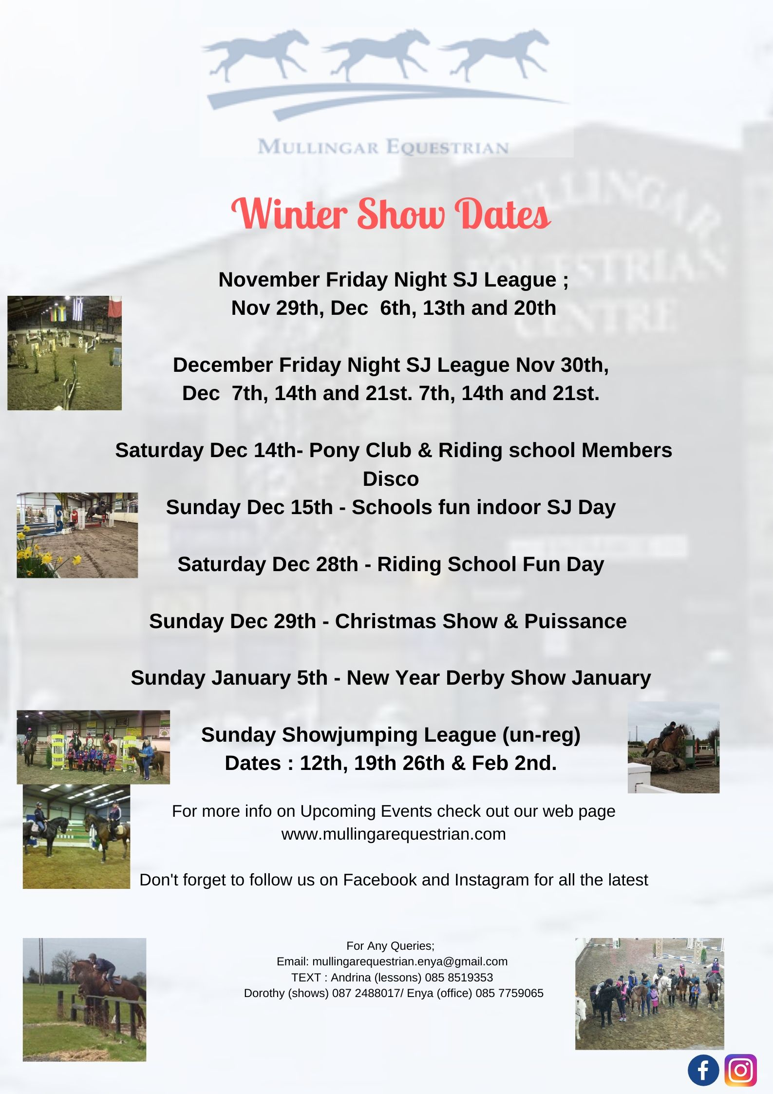 Schools Show Jumping Schedules